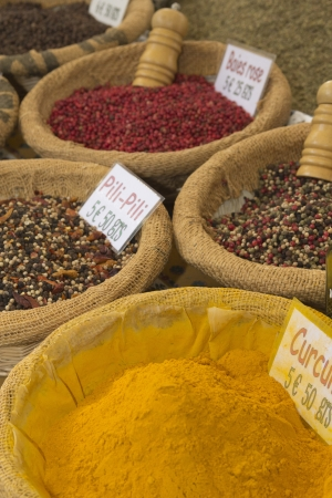 Various kinds of spices prepared to sell at a farmer photo