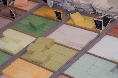 arles: Different colorful soap bars ready for sale on the market   Arles, Provence, France
