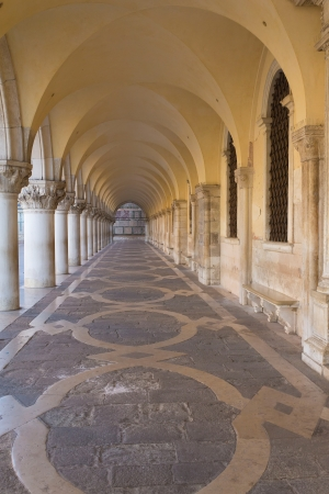 Arcade and vaults of Ducal Palace in Venice  Italy   photo