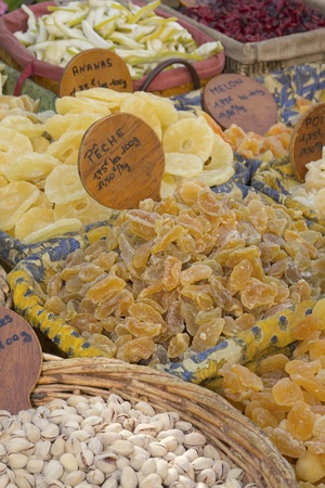 Nuts and candied fruit exposed at the farmers market  photo
