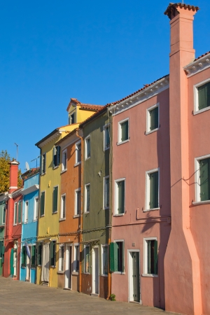 Color houses in row   Island Burano  Italy