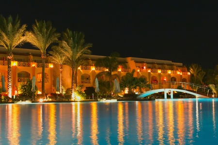 Night pool side of resort  trademarks were removed