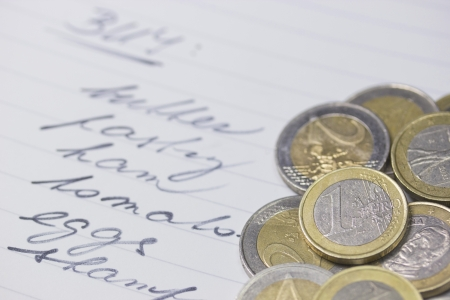 Macro of shopping list with a euro coins  Background  Horizontally  photo