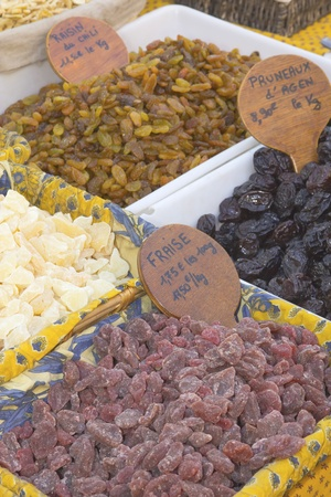 Candied fruit exposed at the farmers market
