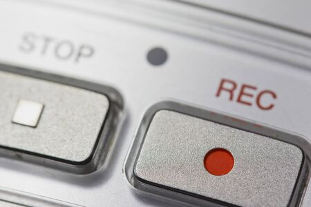 Macro view of a button on the Recording on a digital voice recorder