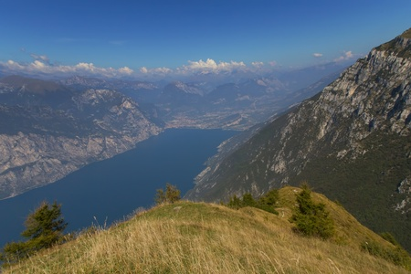 Scenery of Lake Garda from Monte Baldo, Trentino, Italy  photo