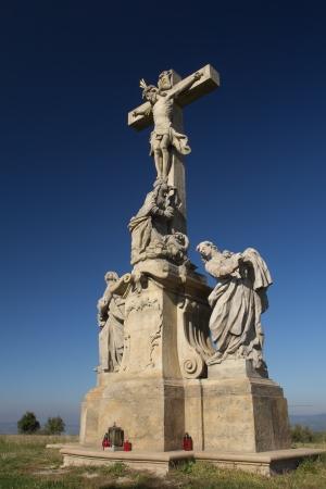 jesus statue: Statue of Jesus Christ on a cross  near village, Ruda, Czech Republic