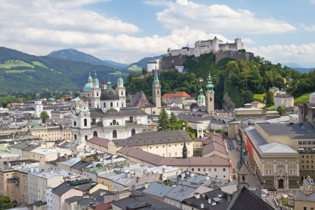 expanded: SALZBURG-AUG 8  Aerial view of Salzburg  The castle was built back in 1077 and over the centuries has been constantly expanded  Salzburg, August 8, 2012