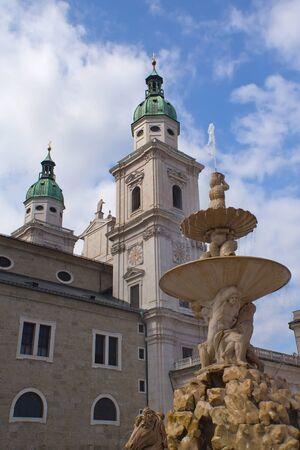 Salzburg Residenz Square withfountain  Austria, Europe  photo