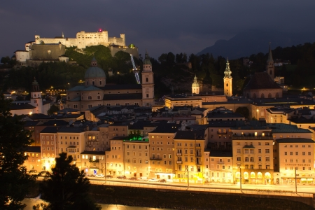 SALZBURG-AUG 10  Aerial view of Salzburg in the night  The castle was built back in 1077 and over the centuries has been constantly expanded  Salzburg, August 10, 2012