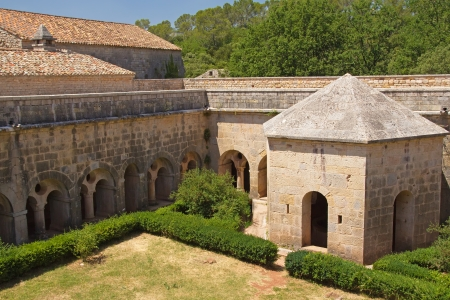 The garden in Thoronet Abbey from the Cistercian order  Provence, France   Stock Photo