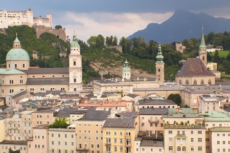 SALZBURG (AUSTRIA) - AUG 10: General view of Salzburg in sunset light after rain. Salzburg has a rich musical heritage.  It welcomes more than 8 million visitors a year. Salzburg, August 10, 2012
