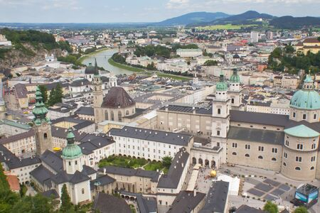 SALZBURG- AUG 8. Aerial view of the Salzburg. It was listed as a UNESCO World Heritage Site in 1997. The city is noted for its Alpine setting. Salzburg, August 8, 2012