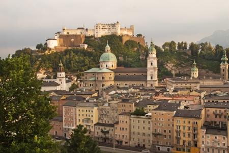 View of fortress Hohensalzburg at sunset  Salzburg, Austria