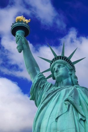 Detailed view of Statue of Liberty  Blue sky with clouds in background  Vertically   New York City, USA Stock Photo - 17192845