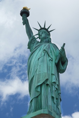 Statue of Liberty  Blue sky with clouds in background  Vertically   New York City, USA   Stock Photo - 17448395