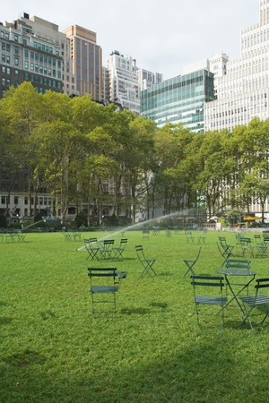 Empty Bryant Park in New York City on Saturday morning. Vertically. photo