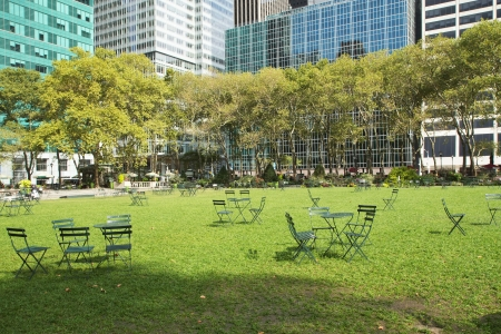 Empty Bryant Park in New York City on Saturday morning. Horizontally.
