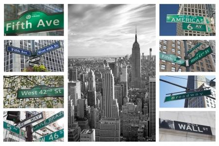뉴욕시 수평의 거리 표지판의 콜라주