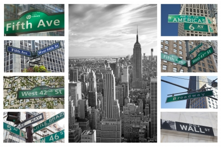 Collage of Streets signs of New York City  Horizontally  Banque d'images