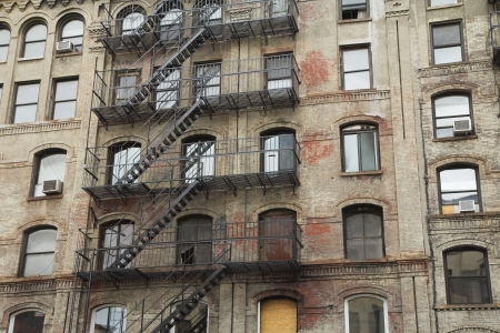 Old building with outdoor staircase  New York City, USA   Horizontally