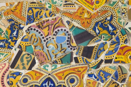 Tile mosaic wall in park city Barcelona