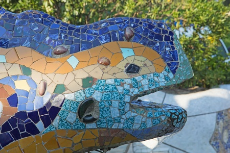 Details of the ceramic dragon fountain at Parc Guell in Barcelona  Catalunya, Spain  photo