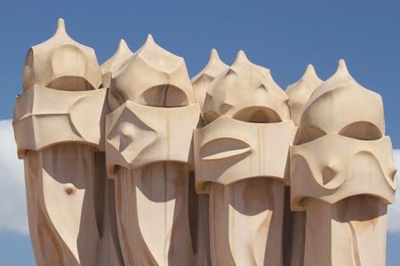 Casa Mila in Barcelona  Catalunya, Spain  版權商用圖片