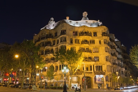 BARCELONA. APR 24: Casa Mila is a building that is one of symbols of Barcelona. It was built during the years 1906–1912 April 24, 2013 in Barcelona, Spain.
