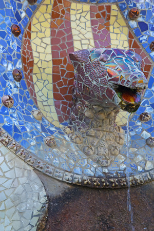 modernisme: Details of the ceramic sculptures at Parc Guell in Barcelona (Catalunya, Spain)