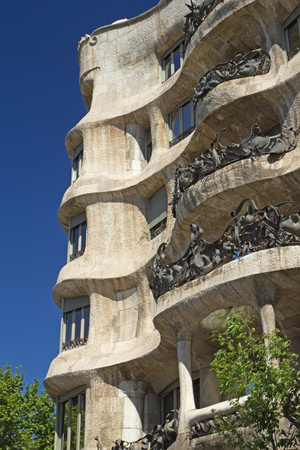 Casa Mila in Barcelona. Vertically.(Catalunya, Spain)