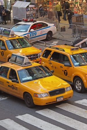 NEW YORK CITY - SEPT 21: There are 13,237 taxis operating in New York City, not including over 40,000 other for-hire vehicles. September 21, 2012  in Manhattan, New York City.