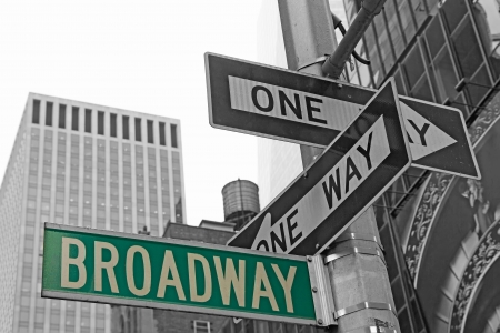 Street signs for Broadway in Manhattan (New York City) 版權商用圖片 - 24882048