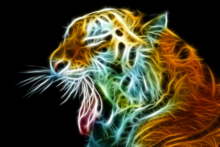 Abstract view of the tiger head with an open mouth