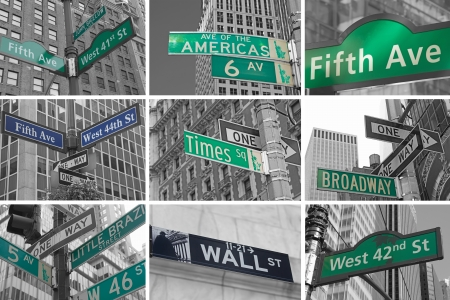 Collage of Streets signs of New York City  USA   Color Splash Efect Picture  photo