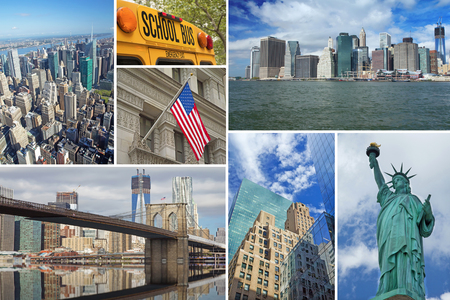 New york city famous landmarks picture collage photo