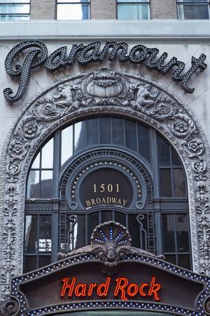 entranceway: NEW YORK CITY - SEPT 22: The Paramount Theatre was opened in 1926.  It became home to the Hard Rock Cafe in 2003.  September 22, 2012  in Manhattan, NYC.