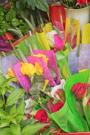 the ramblas: Flower stalls on the street La Ramblas in central Barcelona. Celebration of San Jordi (Saint George) in April.