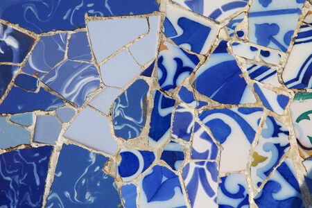 faience mosaic background od the mosaic of pieces of blue color porcelain - Faience Colore