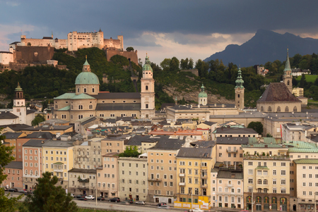 Aerial view of Salzburg after the evening storm (Austria) photo