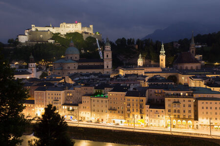 Aerial view of Salzburg in the nigh (Austris, Central Europe) photo
