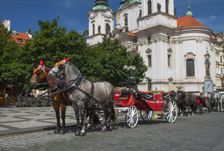 Horse-drawn carriage ready for tourists. (Old Town Square, Prague, Czech Republic.) All  potential trademarks are removed. Stock Photo