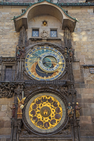 old town hall: Astronomical Clock on Old Town Hall in Prague. (Czech Republic). Vertically.