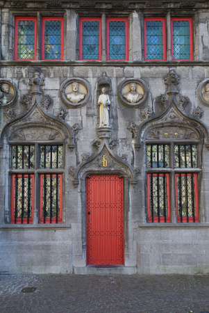 burg: The entrance to the Holy Blood chapel, also known as De Steeghere. Square Burg in Bruges (Belgium) Stock Photo