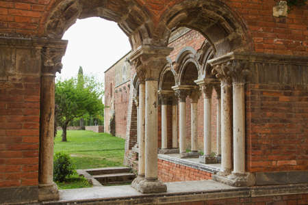 Closeup view of the ruins of the brick church San Galgano. The abbey was abolished in 1652. (Tuscany, Italy)