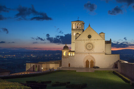 francesco: The Papal Basilica of St. Francis of Assisi at sunset (Assisi, Umbria, Italy)