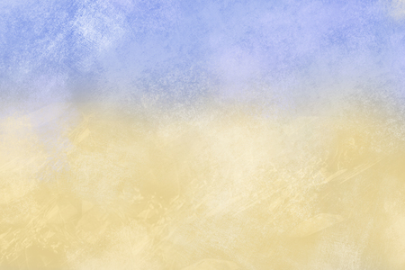 upper half: Light yellow and blue grunge texture showing wall in Mediterranean style. The image is blue in the upper half and light yellow in the bottom half. Stock Photo