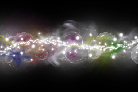conceiving: Abstract  composed of colored unfocused smoke, lights and objects on the black background. Strip of a shining stars at the center of the image Stock Photo