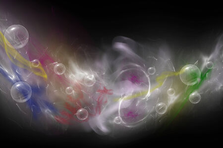 conceiving: Abstract  composed of colored unfocused smoke, lights and objects on the black background. Everything is bent into a U-shape
