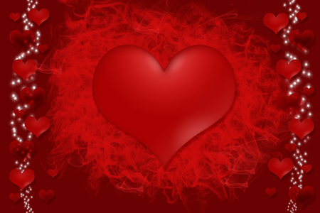 which one: One big red heart is placed in the center of the image. Smaller light and dark hearts, through which streaks of luminous stars are on the edge of the image. Stock Photo